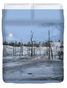 Moonset At Mammoth Terrace-yellowstone Duvet Cover