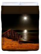 Moonset Over Windnsea Duvet Cover