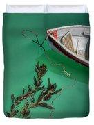 Moored Boat And Kelp Duvet Cover