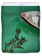 Moored Boat And Kelp Duvet Cover