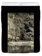 Moored Boat By The River In Tam Coc Duvet Cover