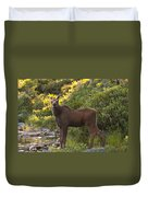 Moose Baby Sniffing Morning Air Duvet Cover