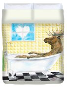 Moose Bath, Moose Painting, Moose Print, Bath Painting, Bath Print, Cottage Art Duvet Cover