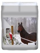Morgan Horse Christmas Duvet Cover by Elizabeth Dow