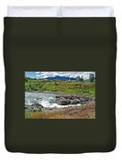Moricetown Falls And Canyon Fishing Operation On The Bulkley River In Moricetwown-british Columbia  Duvet Cover