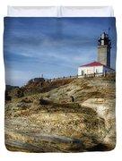 Morning At Beavertail Lighthouse Duvet Cover