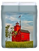 Morning At The Big Red Lighthouse Duvet Cover