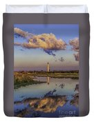 Morning Clouds At Cape May Light Duvet Cover