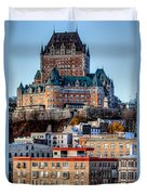 Morning Dawns Over The Chateau Frontenac Duvet Cover