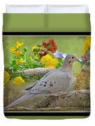 Morning Dove With Pansies Duvet Cover