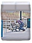 Morning Exercise On The Boardwalk Duvet Cover