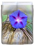 Morning Glory On The Fence Duvet Cover