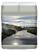 Morning In Upper Geyser Basin In Yellowstone National Park Duvet Cover