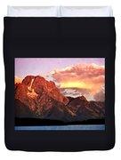Morning Light On The Tetons Duvet Cover