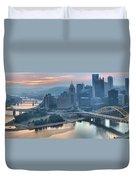 Morning Light Over The City Of Bridges Duvet Cover