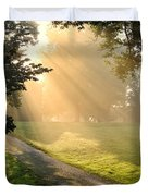 Morning On Country Road Duvet Cover by Olivier Le Queinec