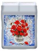Morning Red Poppies Original Palette Knife Painting Duvet Cover