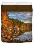 Morning Reflection Of Fall Colors Duvet Cover