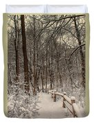 Morning Snow Path Duvet Cover