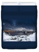Morning Storm At Crater Lake Duvet Cover