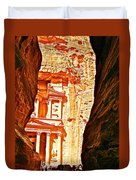 Morning View Of The Treasury From The Gorge In Petra-jordan  Duvet Cover