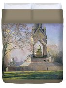 Morning Visitors To The Albert Memorial Oil On Canvas Duvet Cover