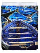Moroccan Blue Fishing Boats Duvet Cover
