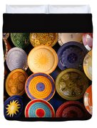 Moroccan Pottery On Display For Sale Duvet Cover by Ralph A  Ledergerber-Photography