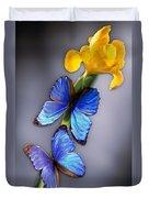 Morpho On Yellow Iris Duvet Cover