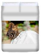 Morphos Butterfly On White Baseball Cap Art Prints Duvet Cover