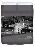 Morris Minor And The Wave Duvet Cover