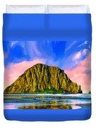 Morro Rock Sunset Duvet Cover