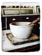 Mortar And Pestle In Apothecary Duvet Cover