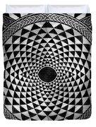 Mosaic Circle Symmetric Black And White Duvet Cover