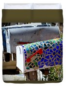 Mosaic Mailbox On The Turquoise Trail In New Mexico Duvet Cover