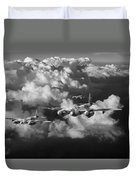 Mosquitos Above Clouds Black And White Version Duvet Cover