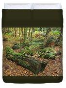 Moss Covered Logs On The Forest Floor Duvet Cover