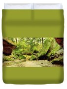Moss Covered Rocks In Forest, Rocky Duvet Cover