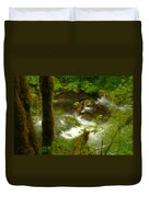 Moss Covered Trees Foregound Eagle Creek Duvet Cover