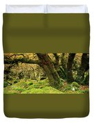 Moss Covered Trees In A Forest Duvet Cover