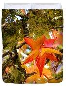 Mossy Lichen Tree Leaves Art Prints Autumn Duvet Cover