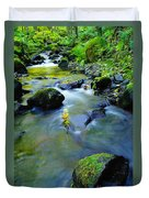 Mossy Rocks And Moving Water  Duvet Cover