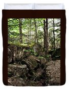 Mossy Rocks In The Forest Duvet Cover