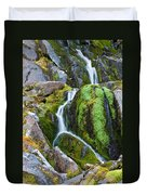 Mossy Waterfall At Snow Lake Duvet Cover