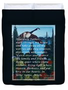 Most Powerful Prayer With Goose Flying And Autumn Scene Duvet Cover