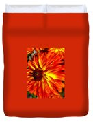 Mostly Orange Dahlia Flower Duvet Cover