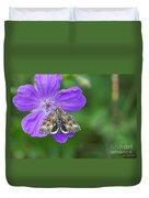 Moth Feeding On Geranium Sanguineum Duvet Cover