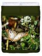 Moth On White Flower Duvet Cover