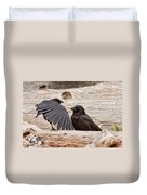 Mother And Baby Crow At The Beach Duvet Cover