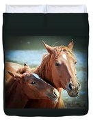 Mother And Filly Duvet Cover
